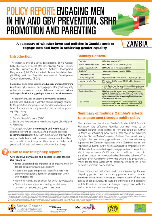 Policy Report: Engaging Men In HIV And GBV Prevention, SRHR Promotion And Parenting