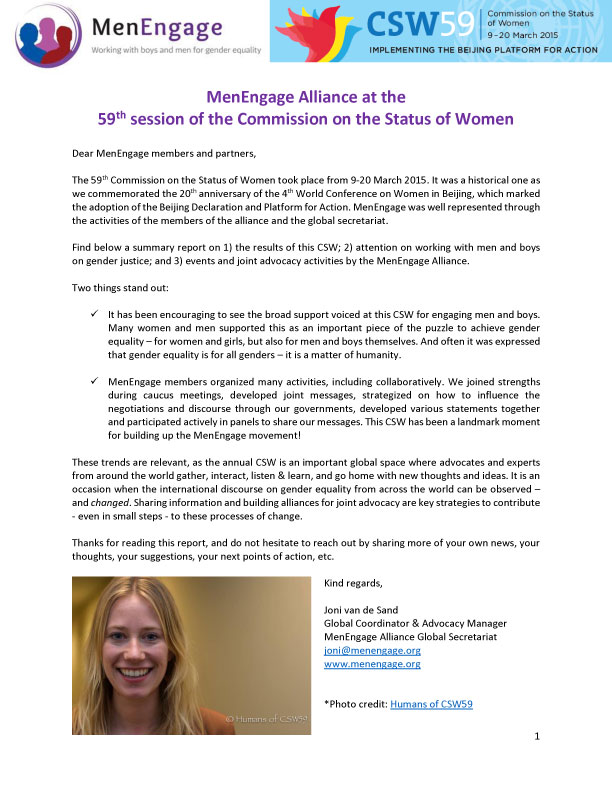 MenEngage Alliance at the 59th session of the Commission on the Status of Women