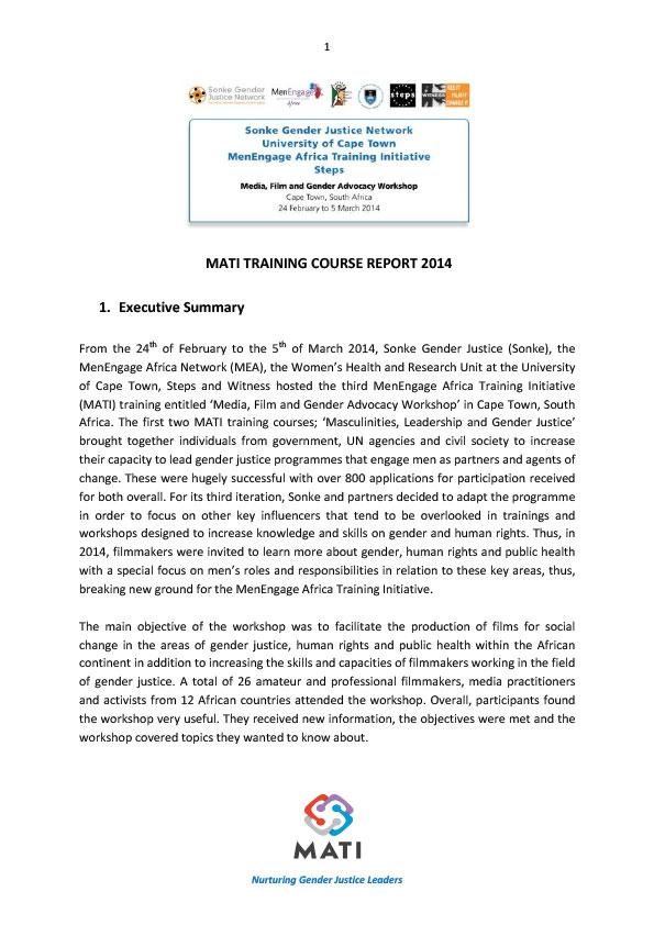 MATI Training Course Report 2014